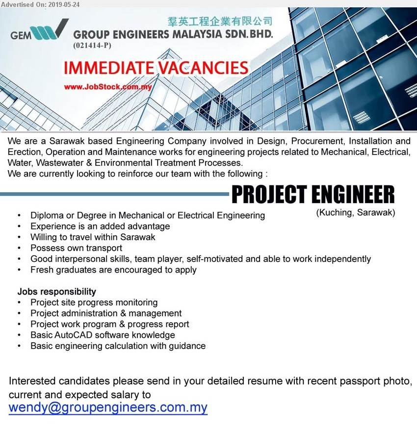 Advertisement Detail - GROUP ENGINEERS MALAYSIA SDN BHD